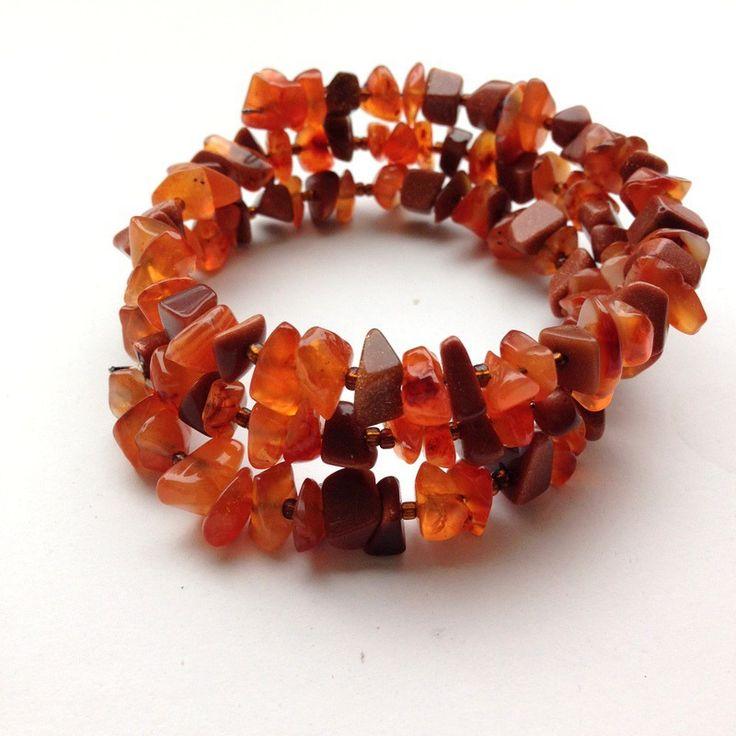 Bracelet 3 rangs en fil à mémoire de forme couleur ambre : Bracelet par cate-line-creations