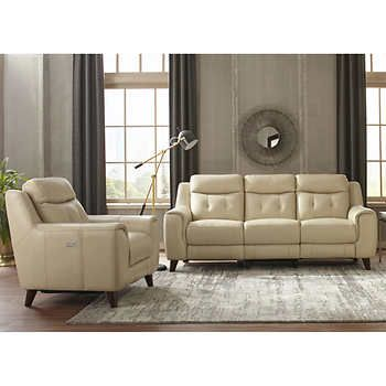 Campania 2 Piece Top Grain Leather Reclining Set With Headrests Sofa Recliner