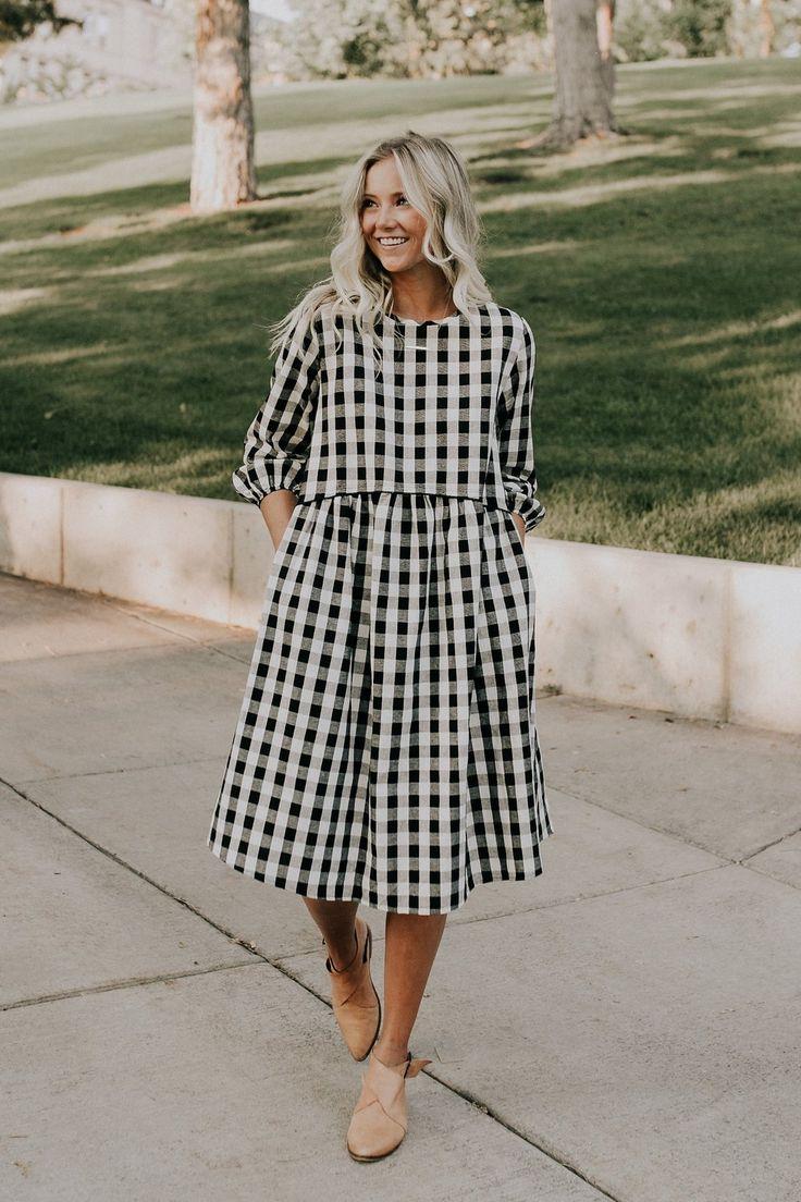 Black   White Checkered Dress   ROOLEE