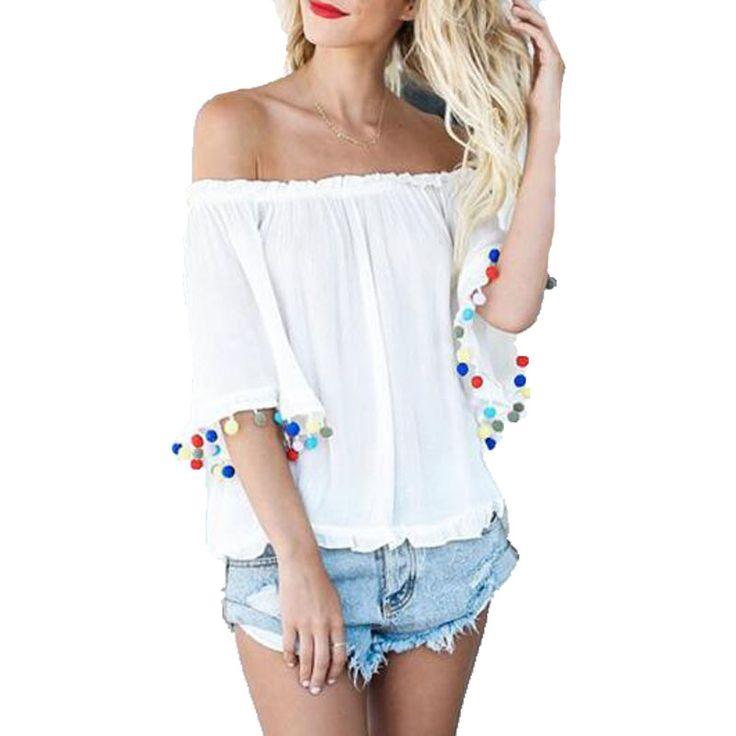 >> Click to Buy << 2017 Women Off Shoulder Frill Pom Pom Casual Loose Tops Tees Summer Female Slash Neck Short Sleeve Tassel Beach Tops Blusas #Affiliate