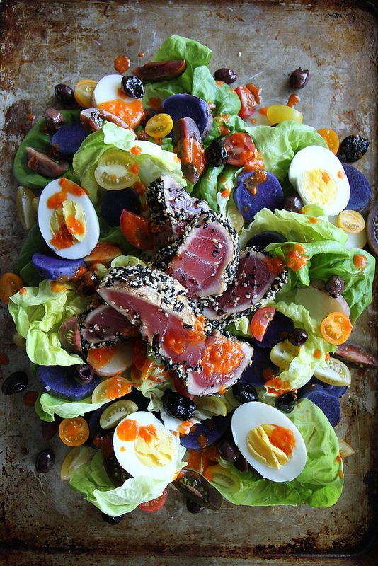 Nicoise Salad with Red Pepper Vinaigrette by heathercristo. If you're curious about blue bits, that's purple potatoes*