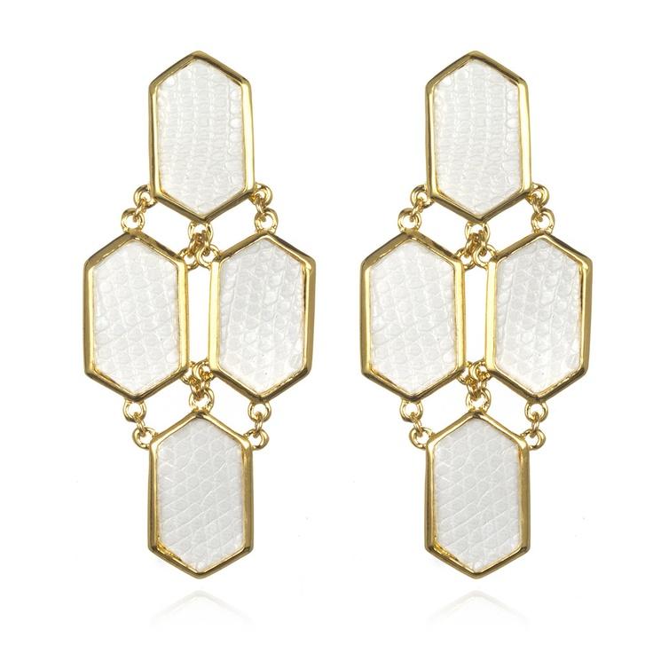 Kara by Kara Ross Hexagon EarringsLizards Earrings, White Lizards, Four Piece Hexagons, Accessories Earrings, Ross Hexagons, Sir Ross, Accessories Ears, Hexagons Earrings, Jewelry Boxes