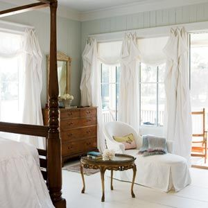 Room Service   Bluffton, SCDecor, Green Home, Wall Colors, Romantic Room, Painting Wood Floors, White Bedrooms, Wood Wall, Windows Treatments, Traditional Bedroom