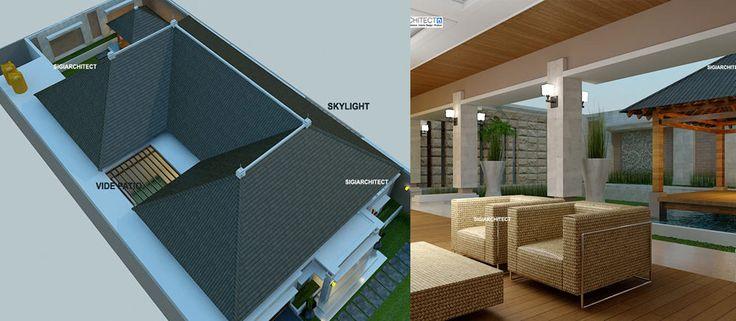 Desain Villa Bali 1 Lantai I Teras Rumah, Taman & Kolam, rumah villa dengan arsitektur natural bergaya tradisional, simpel dan elegan.