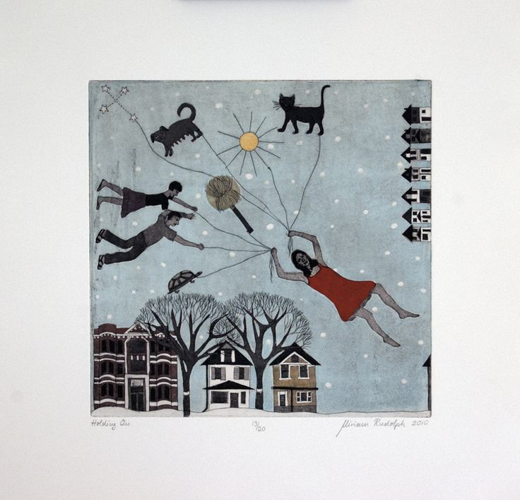 Holding On Etching Chine Colle Hand Colored Printed Pescia Magnani Paper 30cm