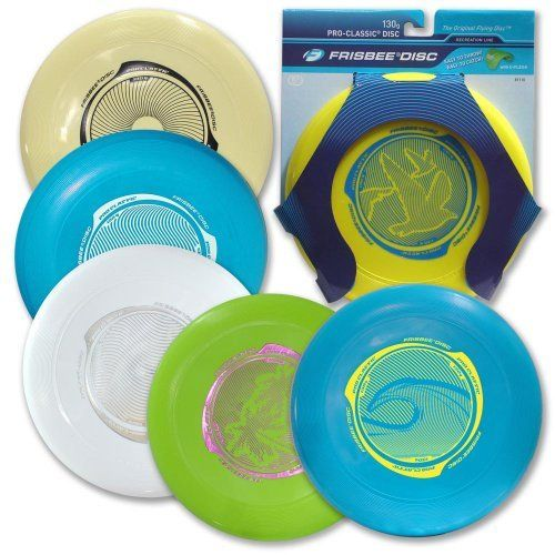 """Wham-o Pro Classic Frisbee (Colors Vary) by Wham-o. $4.00. Wham-0 Frisbe Pro Classic Frisbee Features: Size: 10""""dia. Weight: 130g Disc Age Grading: 5+ Includes: 6 different colors for discs Packaging: Blister card Grip and hold with the thumb on top and the index finger just under the rim Throw keeping arm straight and near shoulder lever Do not aim the disc at any person's eyes or face Style number 81110. Save 60%!"""