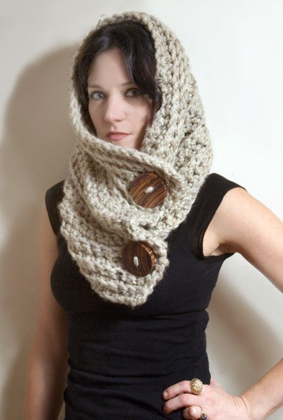 WAS $80 - now $65!    How amazing is the oatmeal color? Its an ultra-chunky cowl with handmade buttons made from fallen zebrawood - yep, were talking EACH BUTTON IS HANDMADE. Super versatile, you can wear this number up around your neck as a scarf/cowl, down over your shoulders as a shrug, up as hood or wrapped over your shoulders - awesome!    This one is a gorgeous oatmeal heather in a SUUUUPER SOFT acrylic/wool blend. 38 x 14 laid flat.  The chunky buttons are XXL 2 1/2 in d...