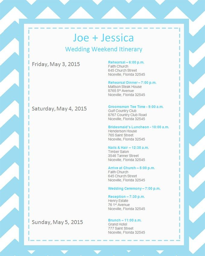 10 Event Itinerary Templates Notes Designs With Images