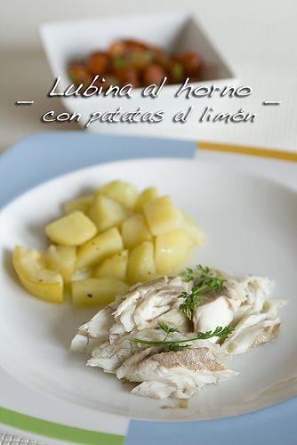 Lubina al horno con patatas al limón