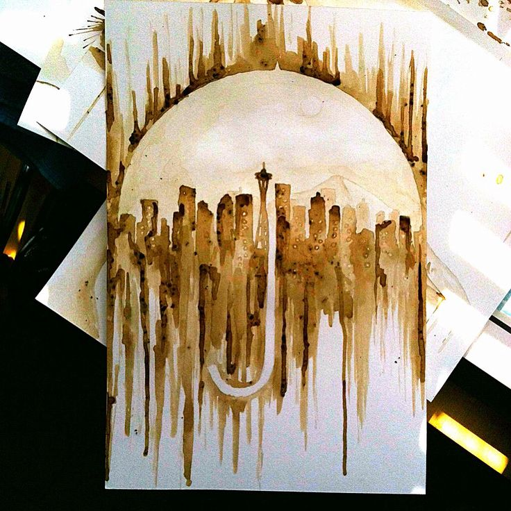 Who likes coffee!? Painting made with coffee! Coffee painting coffee art Starbucks Seattle skyline umbrella    To view more work visit my site www.facebook.com/meltingmiltons
