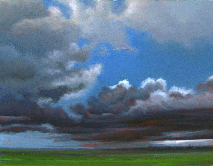 """Ennazul"" by Jerry Moon Fine Art-Oil-Landscape-Painting-Kansas City, Missouri-Midwest-Sky-Clouds-Storm-Grey-Blue-Green-Dramatic-Rain"