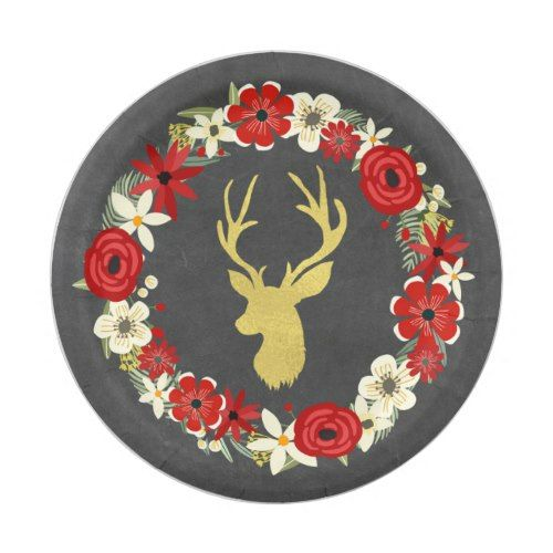 Red Floral Wreath Gold Deer Chalkboard Christmas Paper Plate