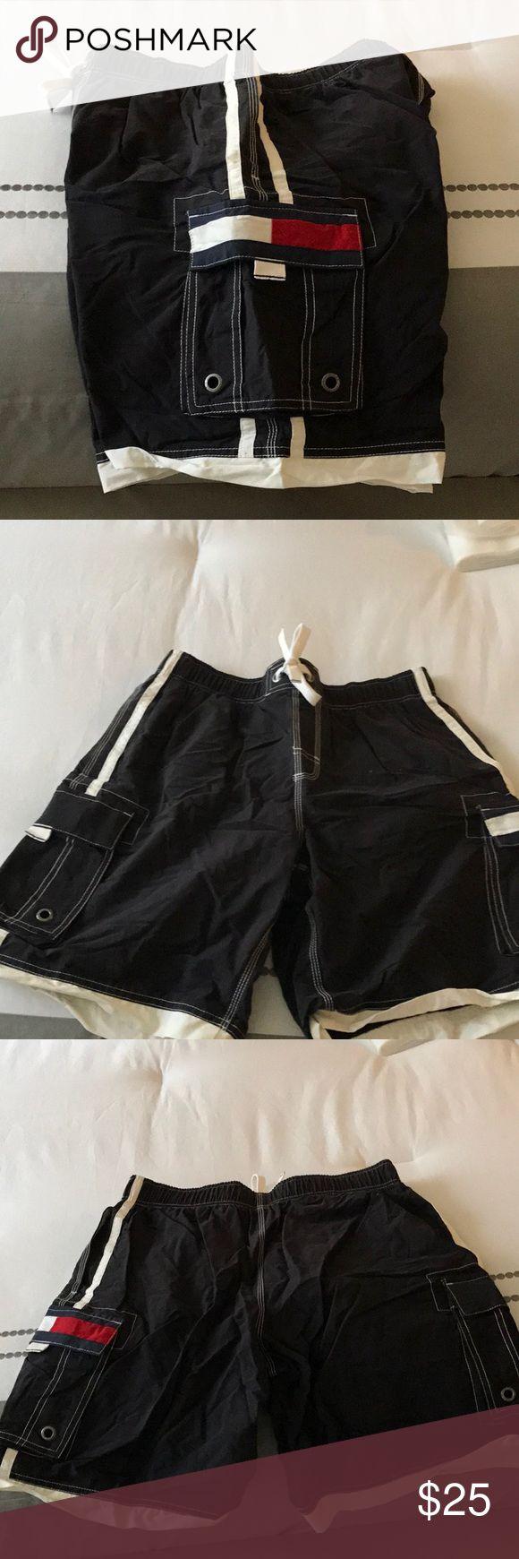 Men's Tommy Hilfiger swim trunks swimwear bathing Men's Tommy Hilfiger swimming trunks with built in underwear worn once by a woman with a bikini on sides have big pockets Tommy Hilfiger Swim Board Shorts