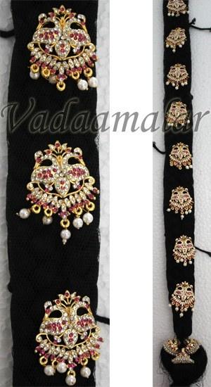 False hair and Billai Braid Hair Pranda Ornament Kunjalam Jewelry India Wedding Bridal Set