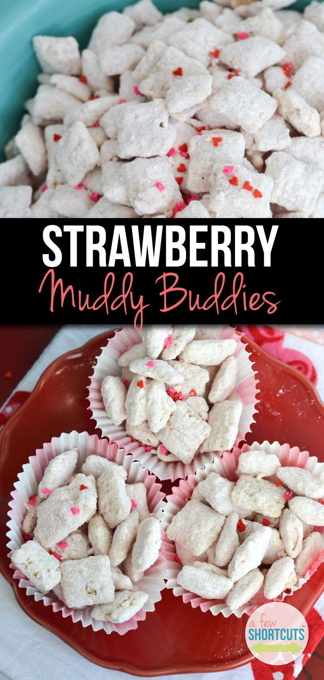 Who doesn't love muddy buddies?! This sweet twist on a classic is perfect for your Valentine! Check out this yummy Strawberry Muddy Buddies Recipe!