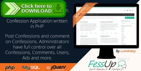 [ThemeForest]Free nulled download Fess Up Anonymous Confessions from http://zippyfile.download/f.php?id=43542 Tags: ecommerce, admin, administrator, anonymous, bootstrap, comments, confess, confessions, Fess Up, mysqli, php, PHP Application, Secret Confessions, secrets, users, web application