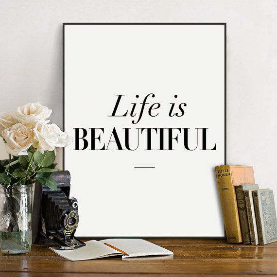 Freeshipping Minimalist Black White Typography Beautiful Life Quotes A4 Art Print Poster Wall Art Canvas Painting Living Room Home Deco by PicSaying