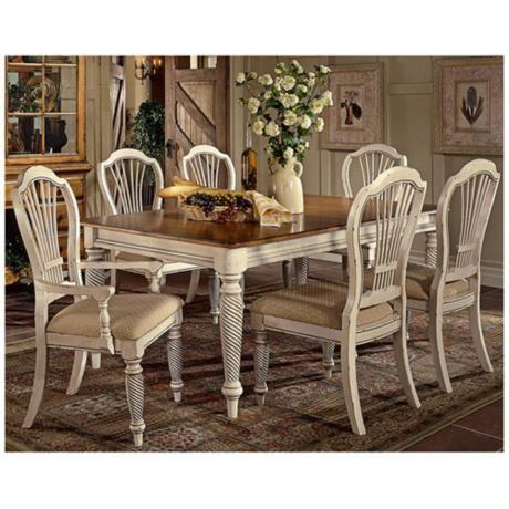 Amazing Hillsdale Wilshire White Finish Rectangle 7 Piece Dining Set