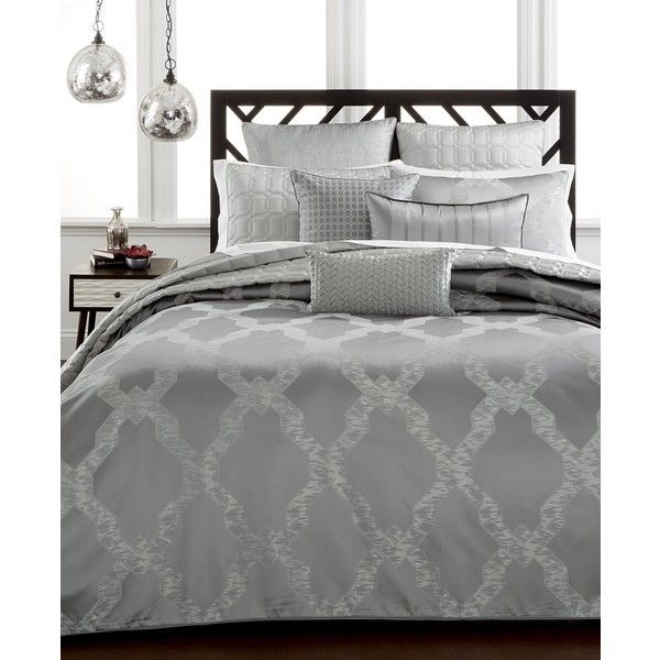 Hotel Collection Chalice King Comforter, (440 BAM) ❤ liked on Polyvore featuring home, bed & bath, bedding, comforters, grey, hotel collection comforter, gray king size bedding, hotel collection bedding, grey bedding and gray king size comforter