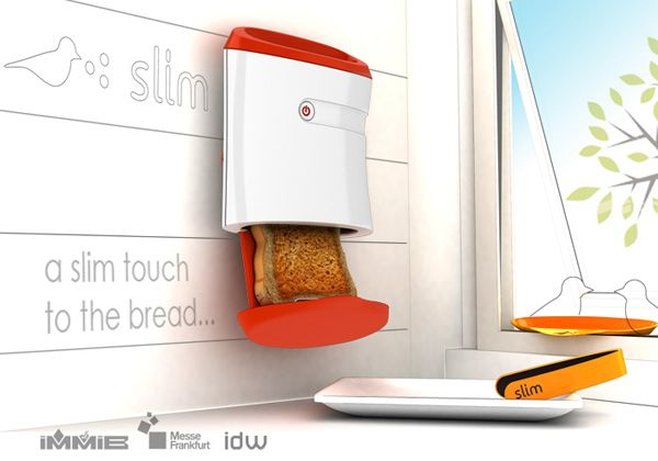 The trend with appliances these days is to get slimmer and sleeker so that you don't hide them in closed cupboards but proudly show them off as a part of your kitchen décor. Consider Slim Toaster to be a part of this concept. Wall-mounted and with a very practical approach towards functionality, I'd use this over my current Philips Toaster, any day. Love the integrated tongs!