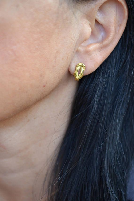 Tie The Knot Earrings Solid 18k Gold Studs Gold Knot Studs