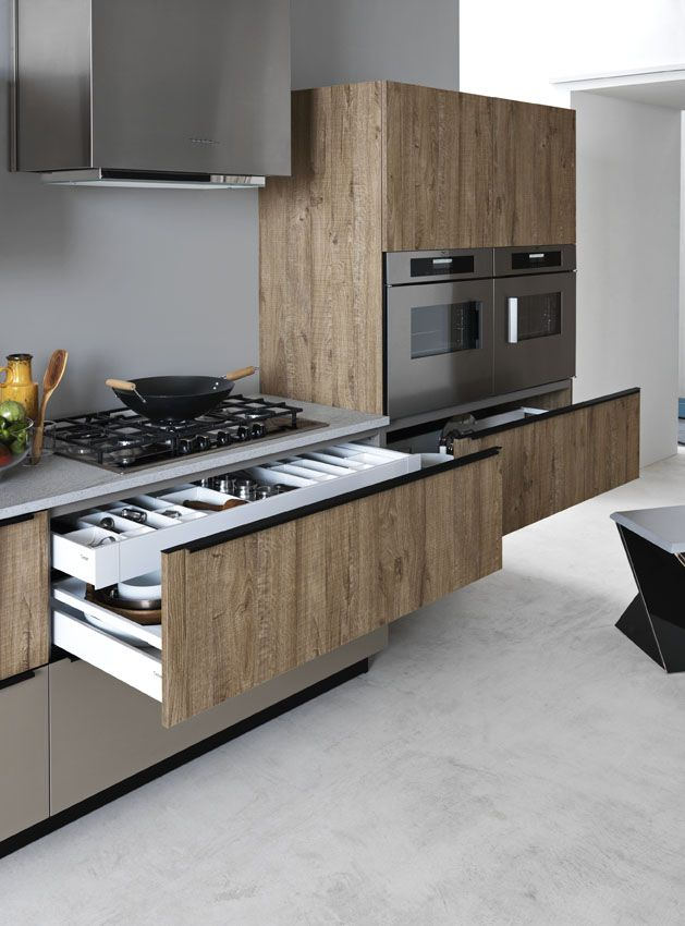 Linear melamine-faced chipboard fitted kitchen ARIEL 05 by Cesar Arredamenti | design Gian Vittorio Plazzogna