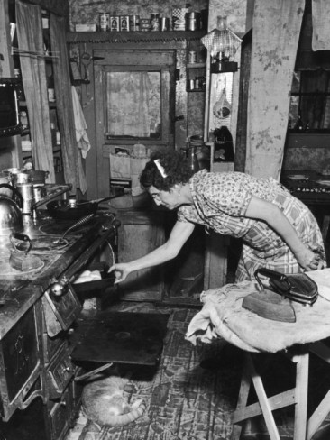 Mrs. Yandle Cooking on Coal Stove, Yacolt Mt, Future Recipients of Electricity from Bonneville Dam Photographic Print by Alfred Eisenstaedt --- the lifestyle of my grandparents before they sold the farm and moved into town