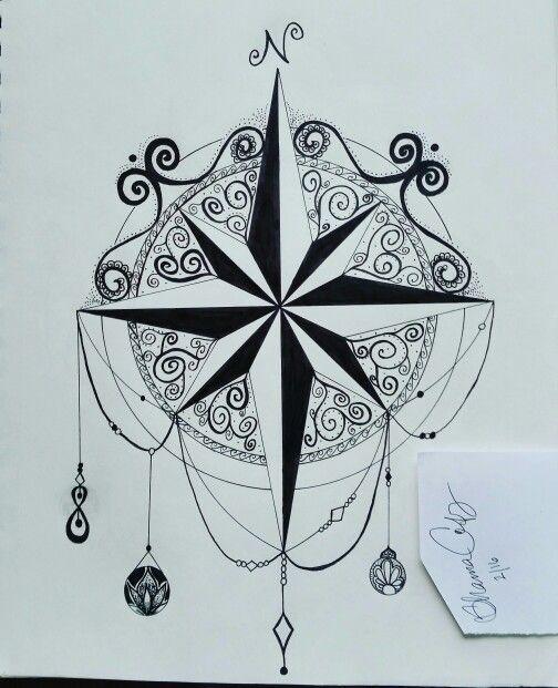 """Not all who wander are lost. "" Compass mandala drawn by me ~Shanna C. #compassmandala #compassrose #compassdrawing #compass #wanderer #mandala #zentangle #doodles #drawyourthoughtsclear #letitflow #doodling #creativemind #creativity #adultdoodles #mandalas #zentangles"