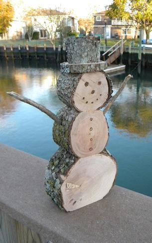 How to make DIY Firewood Snowman Christmas Decoration.