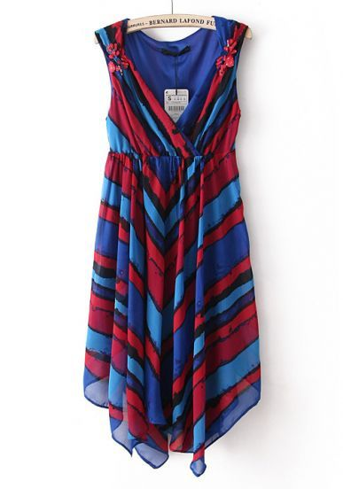 Blue Red Striped Sleeveless Pleated Chiffon Dress #SheInside