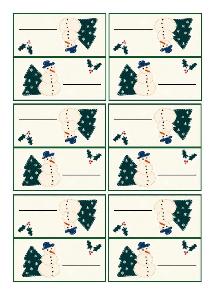 Carton table marque-place Noël à imprimer pour installer vos invités