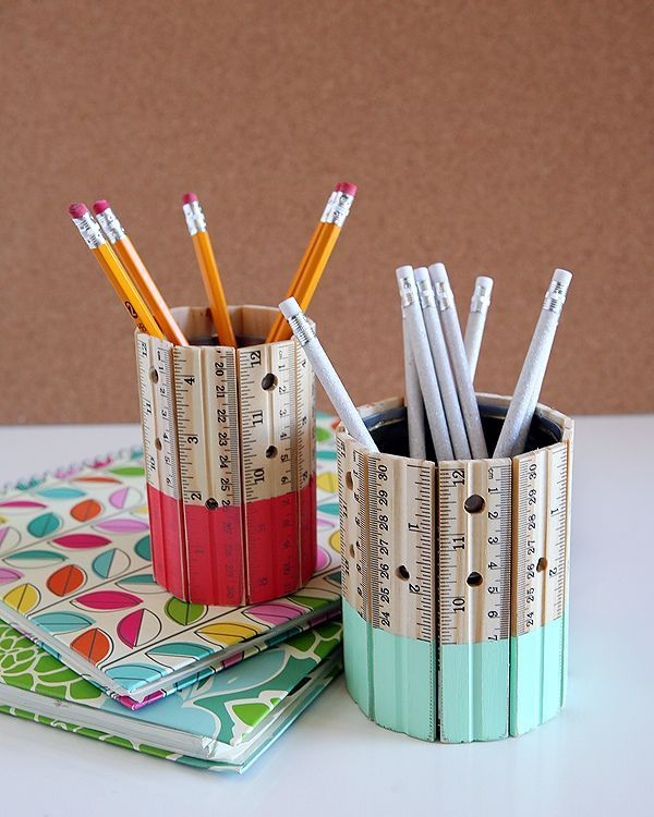DIY ruler pencil holder. Rulers are not only used to measure things but also can be used to create some creative things. Perfect for back to school or teacher gifts. http://hative.com/creative-ruler-crafts/