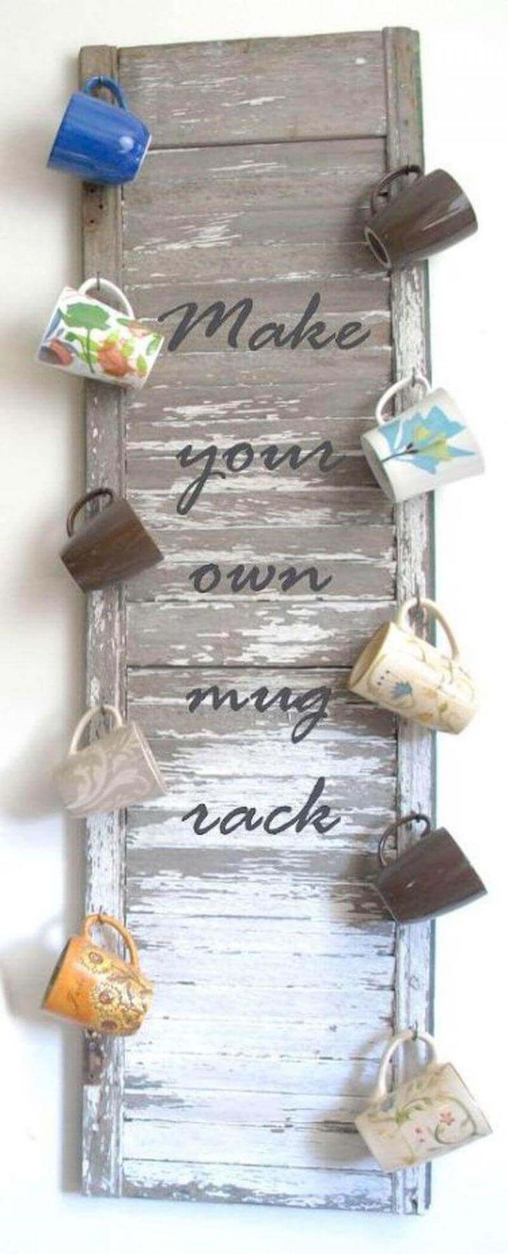 Upcycling projects using old window shutters- Coffee lover's DIY shutter with mug holders