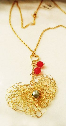 Sweet heart pendant unique crocheted gold plated by AlgoElegante