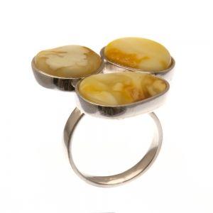 Ezüst gyűrű borostyán kővel /76429/