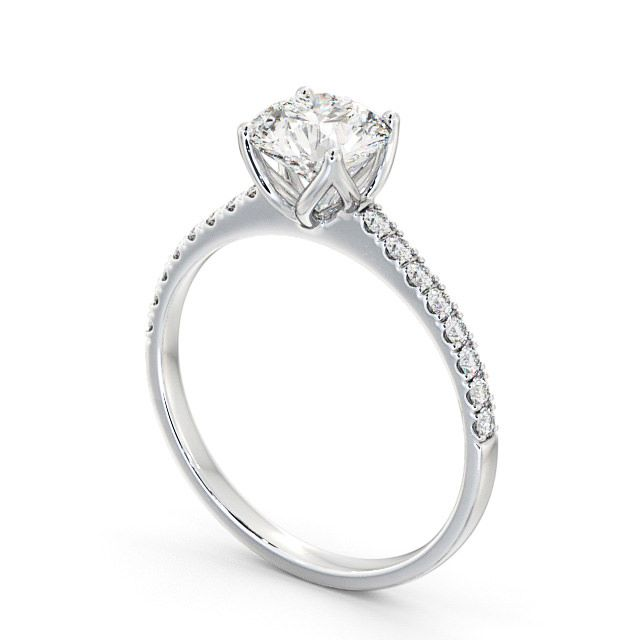 Round Diamond Engagement Ring 9K White Gold Solitaire With Side Stones - Fulvia ENRD144S_WG_SIDE