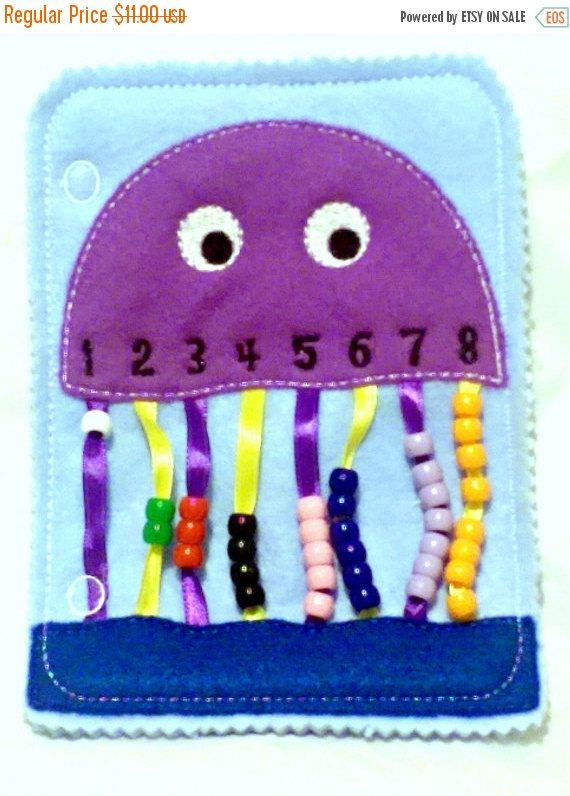 Quiet book closure addon jellyfish bead counting page.  Touching and colors help children to learn to count. Kids can feel, touch, and learn