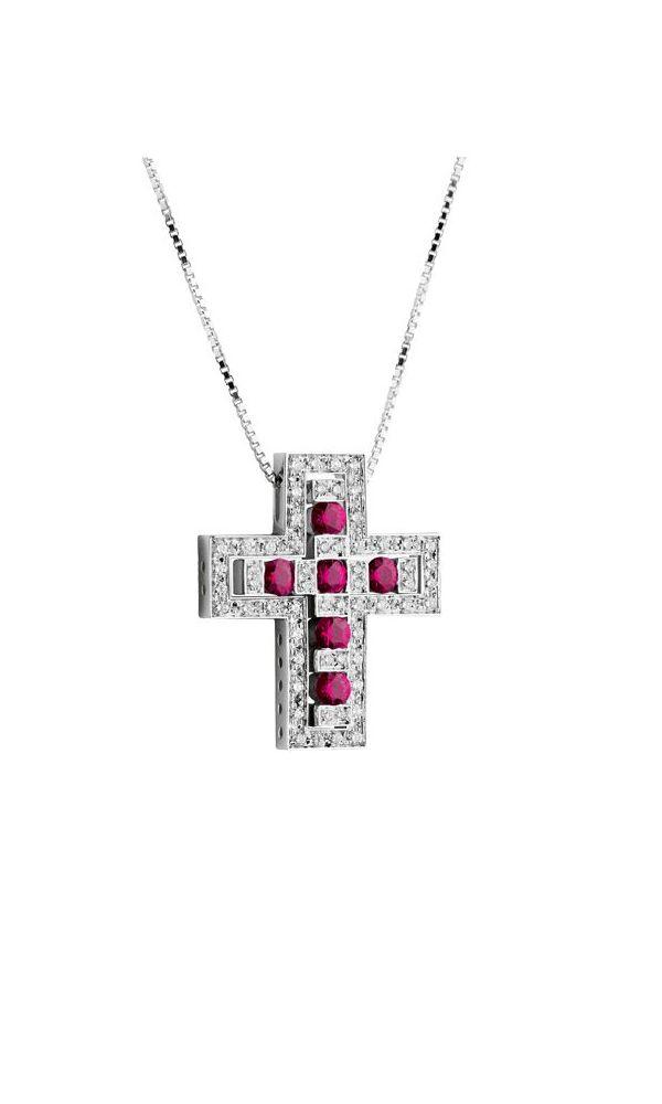 Belle Époque white gold, diamonds and rubies cross necklace