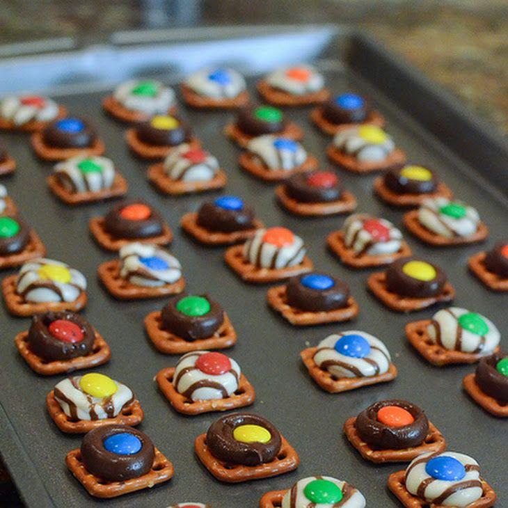 Pretzel Candies Recipe Desserts with pretzels, Hershey's Kisses, M&M's Candy