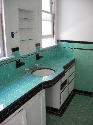 Art Deco tile bathroom | Jade / Turquoise & Black Art Deco ...