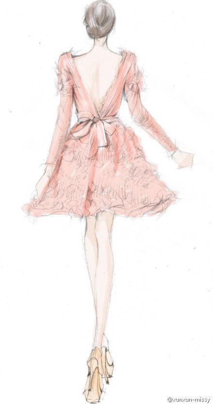 pretty in pink fashion sketch - fashion illustration