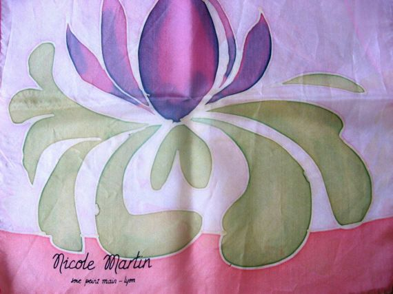 Spring is here! Tulip silk scarf, hand painted, by Nicole Martin of Lyon - perfect for spring & summer. Original Gift from France @PumpjackPiddlewick
