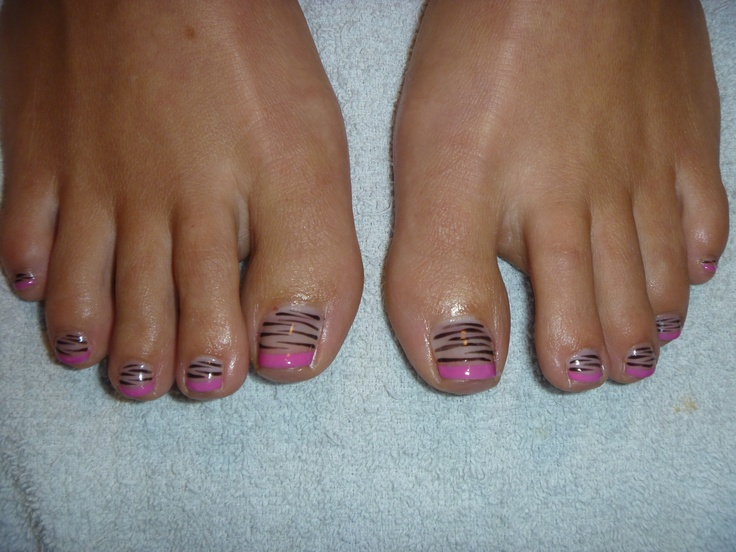 Shellac hot pink french tip with zebra striping! *Xstasy Esthetics