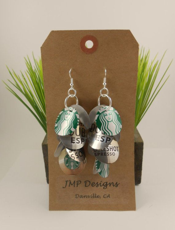 Starbucks Coffee Logo Earrings  Recycled Soda Can Art  by jillmccp, $12.95