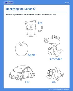 Identifying the Letter 'C' - Free Preschool Reading Worksheet ...