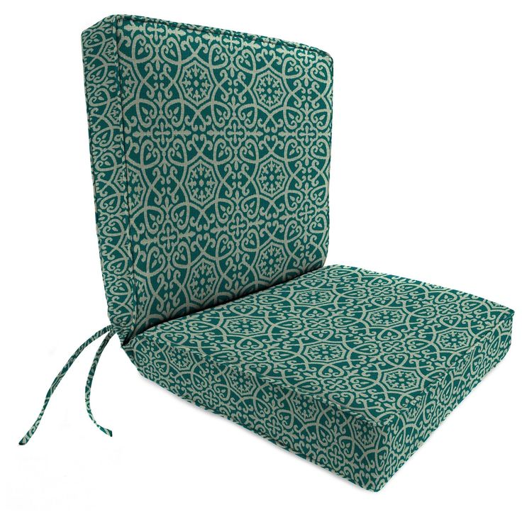 Outdoor Boxed Edge Dining Chair Cushion In Ayathena Teal - Jordan Manufacturing, Lagoon Turquoise