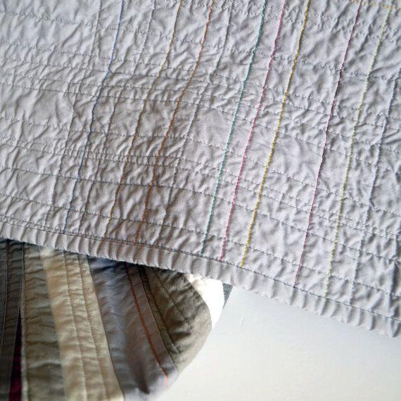 Gray Quilt Monochromatic Quilt Modern Quilt Grey by TwiggyandOpal