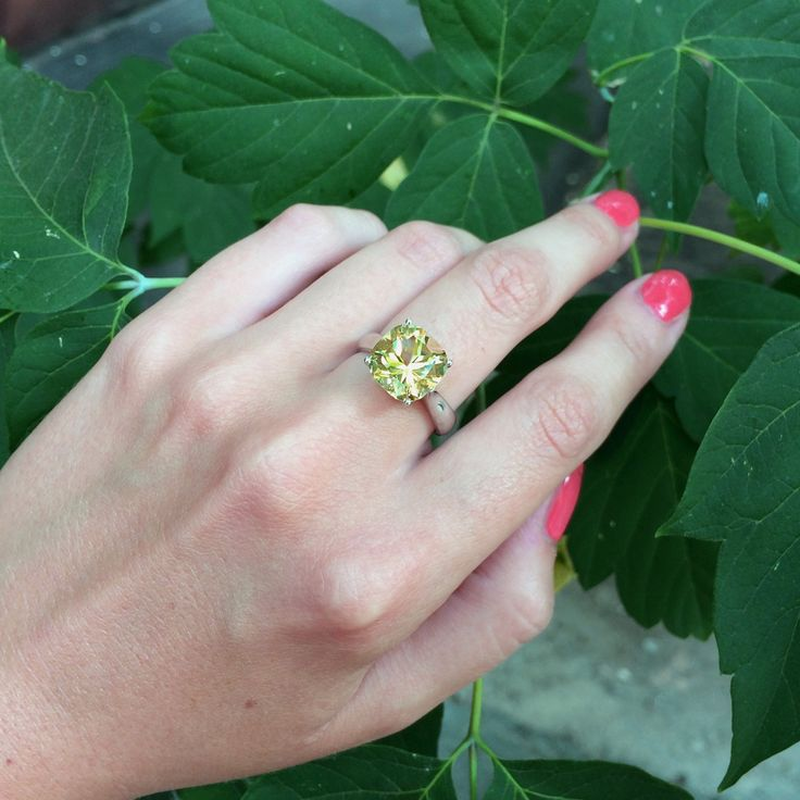 Кольцо с гелиодором, белое золото #ring #heliodor #beryl #gem #gemstone #jewelry #jewellery