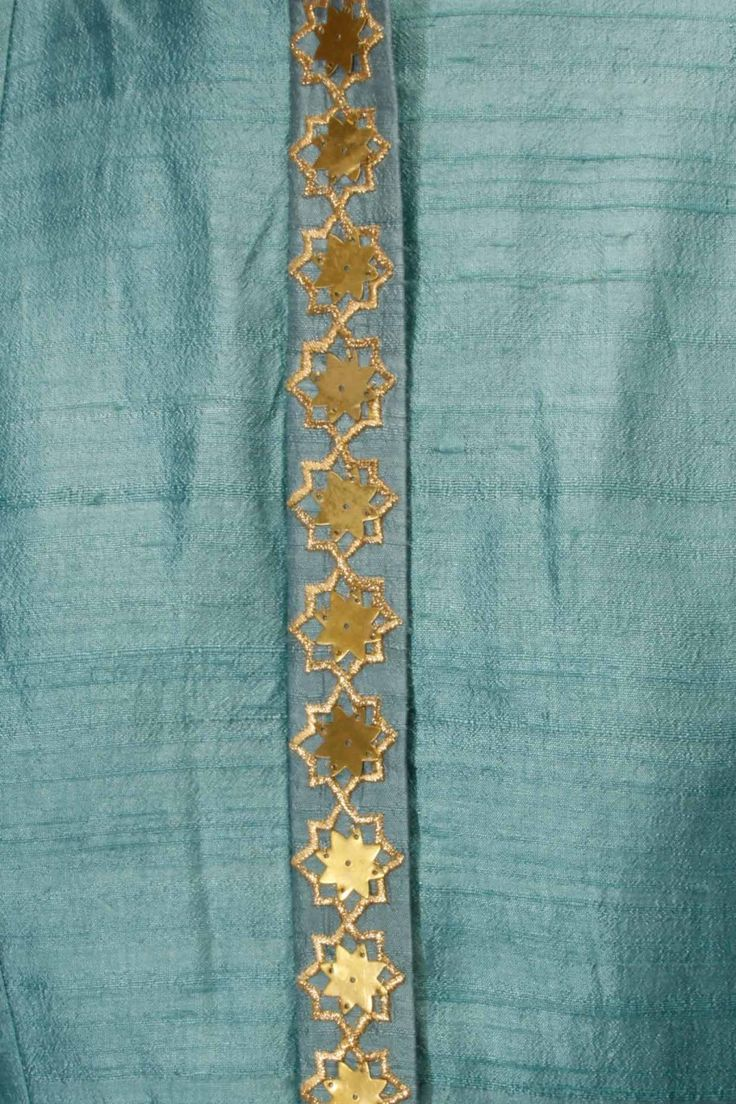 Teal star embroidered jacket kurta with beige inner gown available only at Pernia's Pop Up Shop.