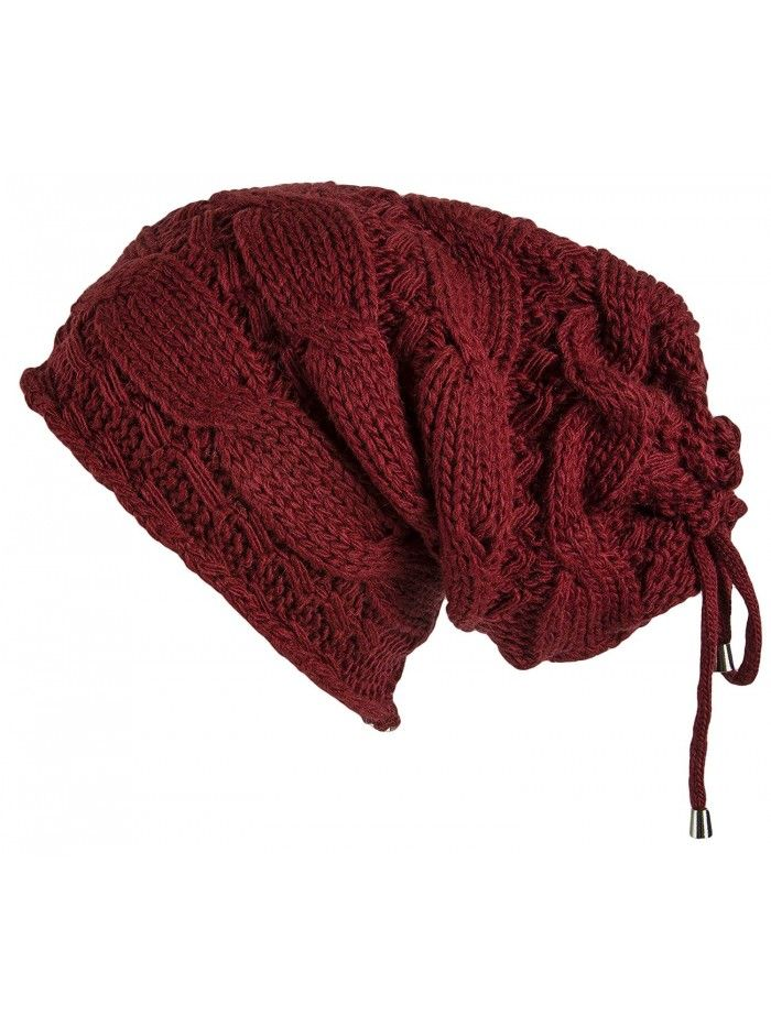 ca434f2622e Cable Knit Slouchy Chunky Oversized Soft Warm Winter Beanie Hat - Burgundy  - CZ186Y5HE6N - Hats   Caps
